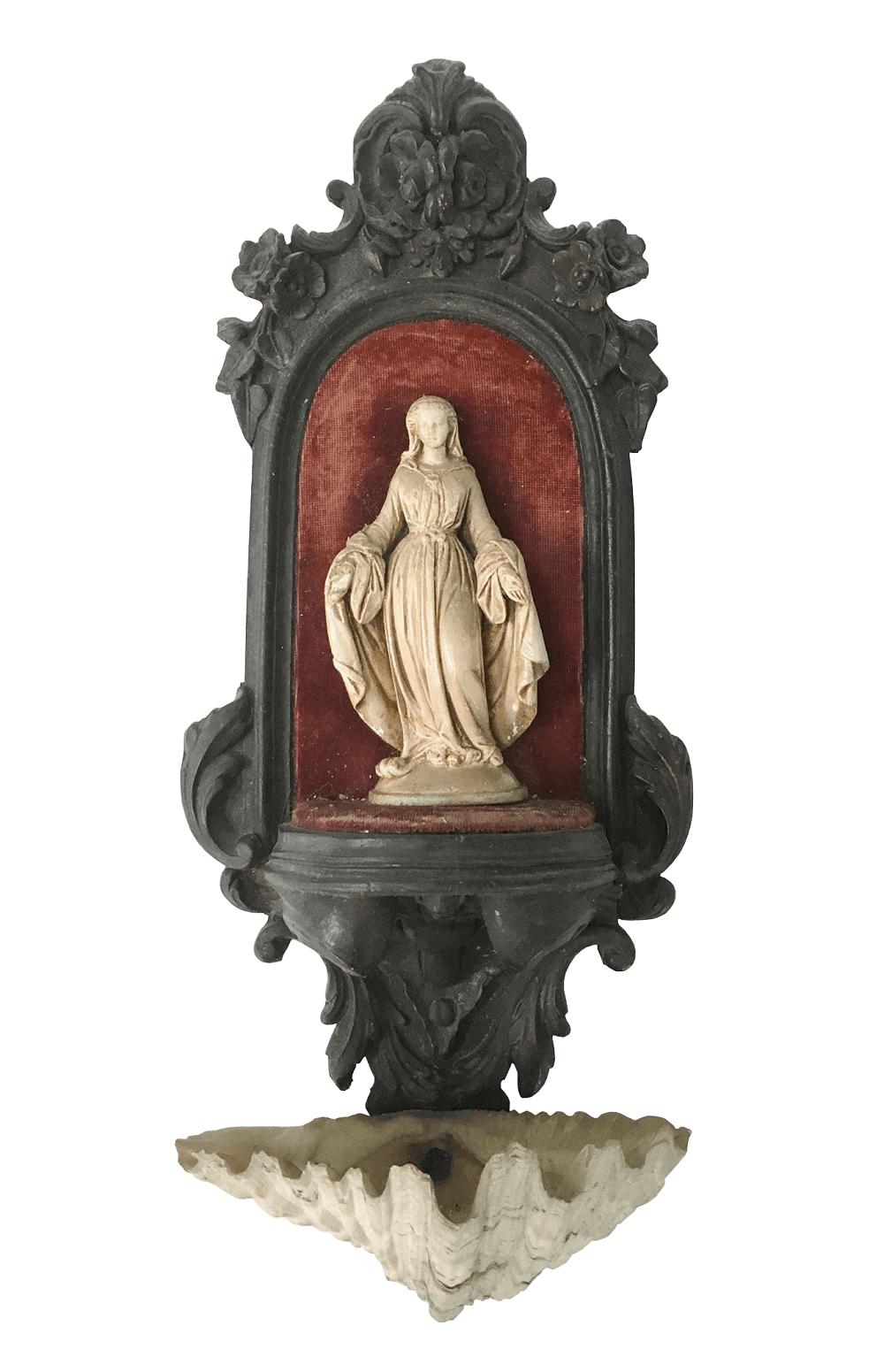 Arte Sacra - Antigo Porta Água Benta Em Madeira E Concha