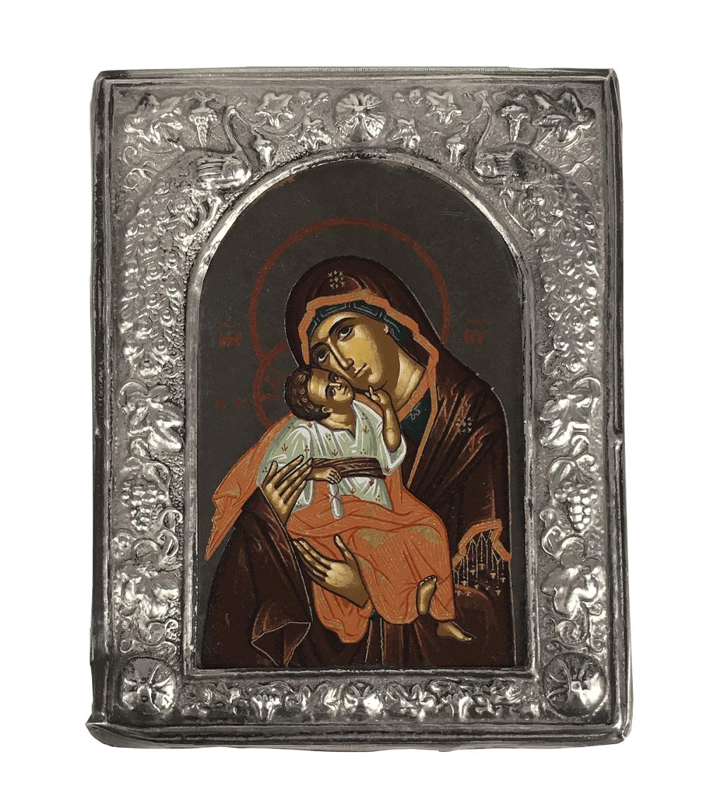 Arte Sacra Icone Grego Antigo Prata De Lei Imagem Santa