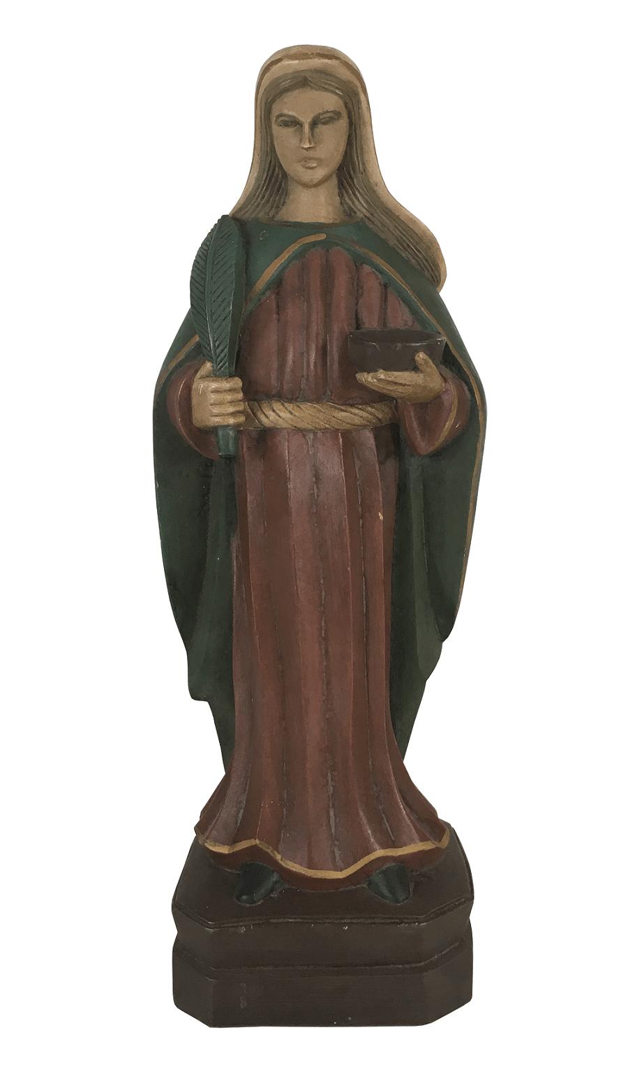Arte Sacra Imagem Santa Em Madeira 31cm