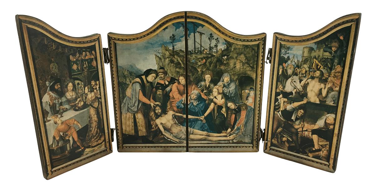 Arte Sacra Oratorio Antigo Placa Madeira Biombo