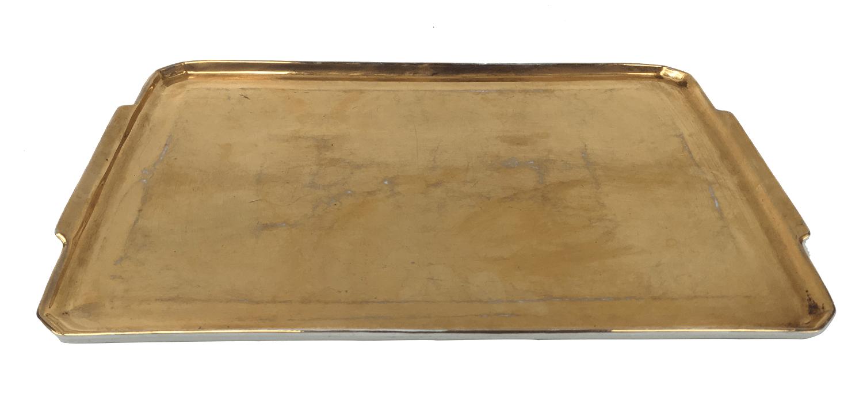 Bandeja Porcelana Antiga Polovi Ouro 36x25cm