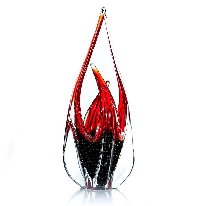 Bela Escultura Vaso Em Murano Sao Marcos Vermelho E Lilas Com Bolhas
