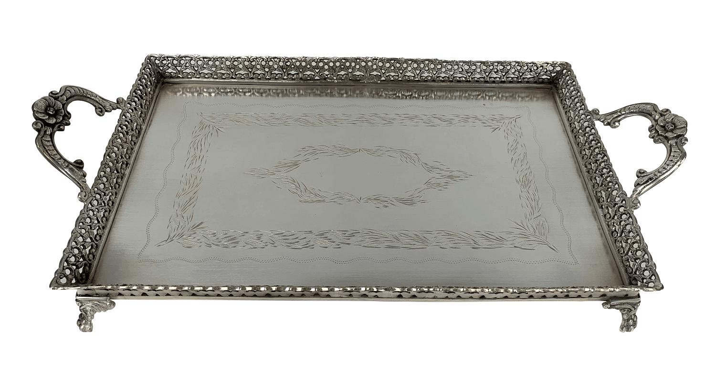 Belissima Bandeja Prata 90 Retangular Antiga Pes Leao 52x28cm