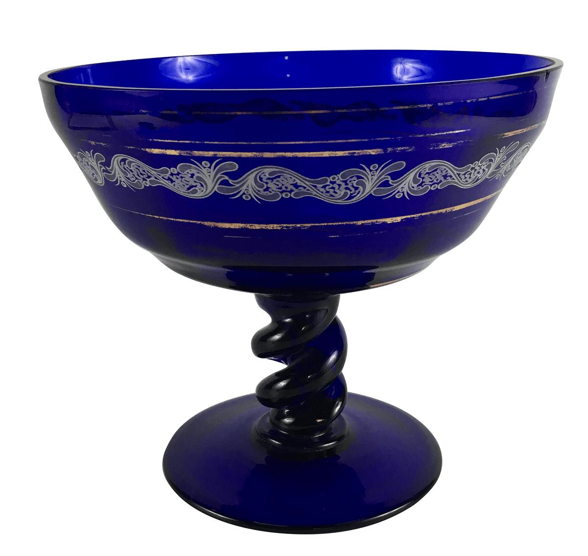 Belissima Fruteira Centro De Mesa Vidro Azul Cobalto