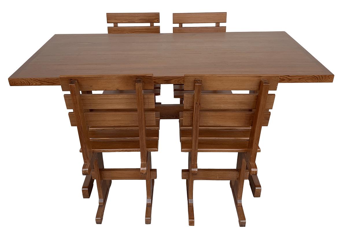 Belissima Mesa De Jantar Antiga Pinho De Riga 4 Cadeiras