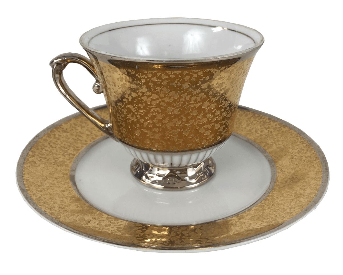 Belissima Xicara De Cha Porcelana Antiga Maua Ouro E Prata