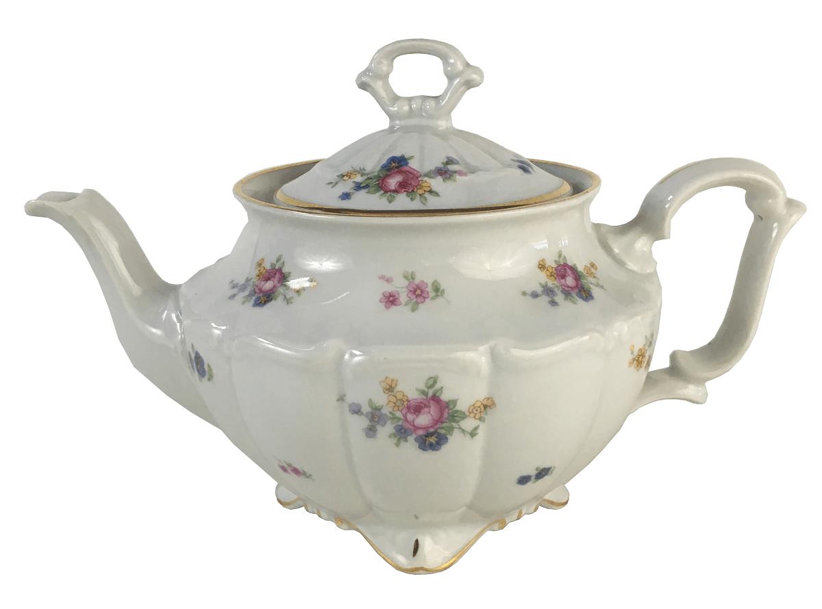 Belissimo Bule De Chá Grande Porcelana Antiga Polonesa Flores