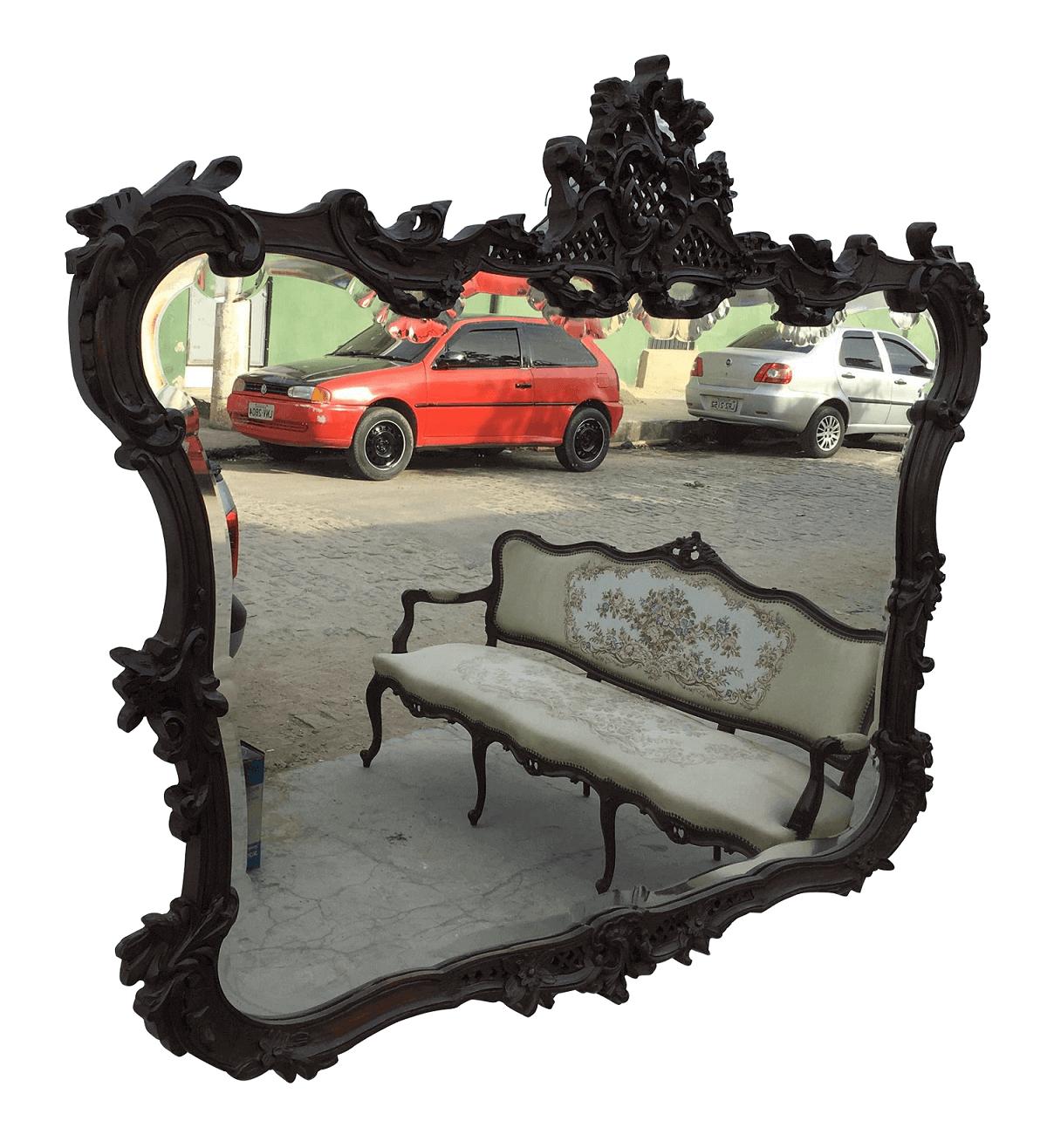 Belissimo Espelho Bisotado Antigo Ricamente Entalhado