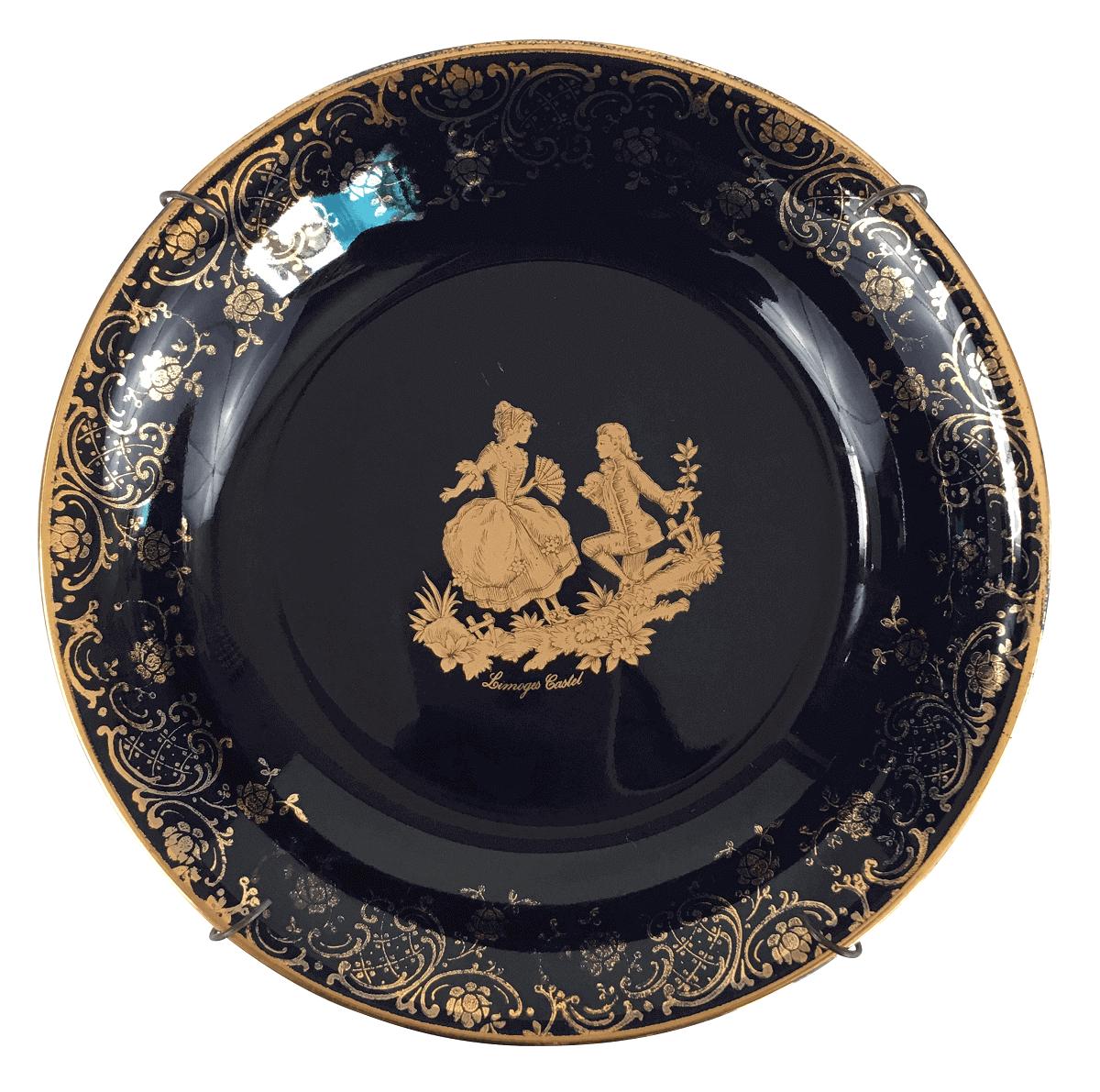 Belo Pratinho Decorativo Azul Com Dourado Porcelana Limoges