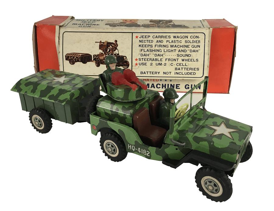 Brinquedo Antigo Lata Jeep Militar Bandai Na Caixa Original