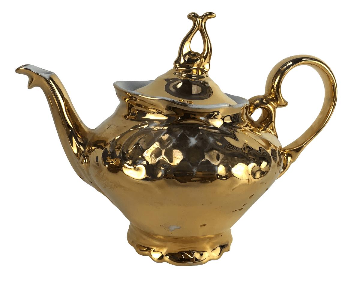 Bule De Cha Antigo Em Porcelana Polovi Ouro