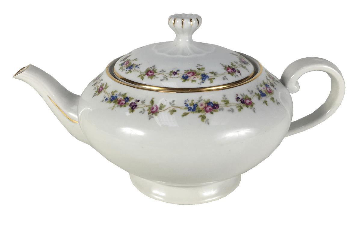 Bule De Cha Antigo Porcelana Tchecoslovaquia Florido E Ouro