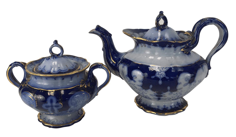 Bule E Açucareiro Ingles Porcelana Antiga Estilo Borrao Belissimas