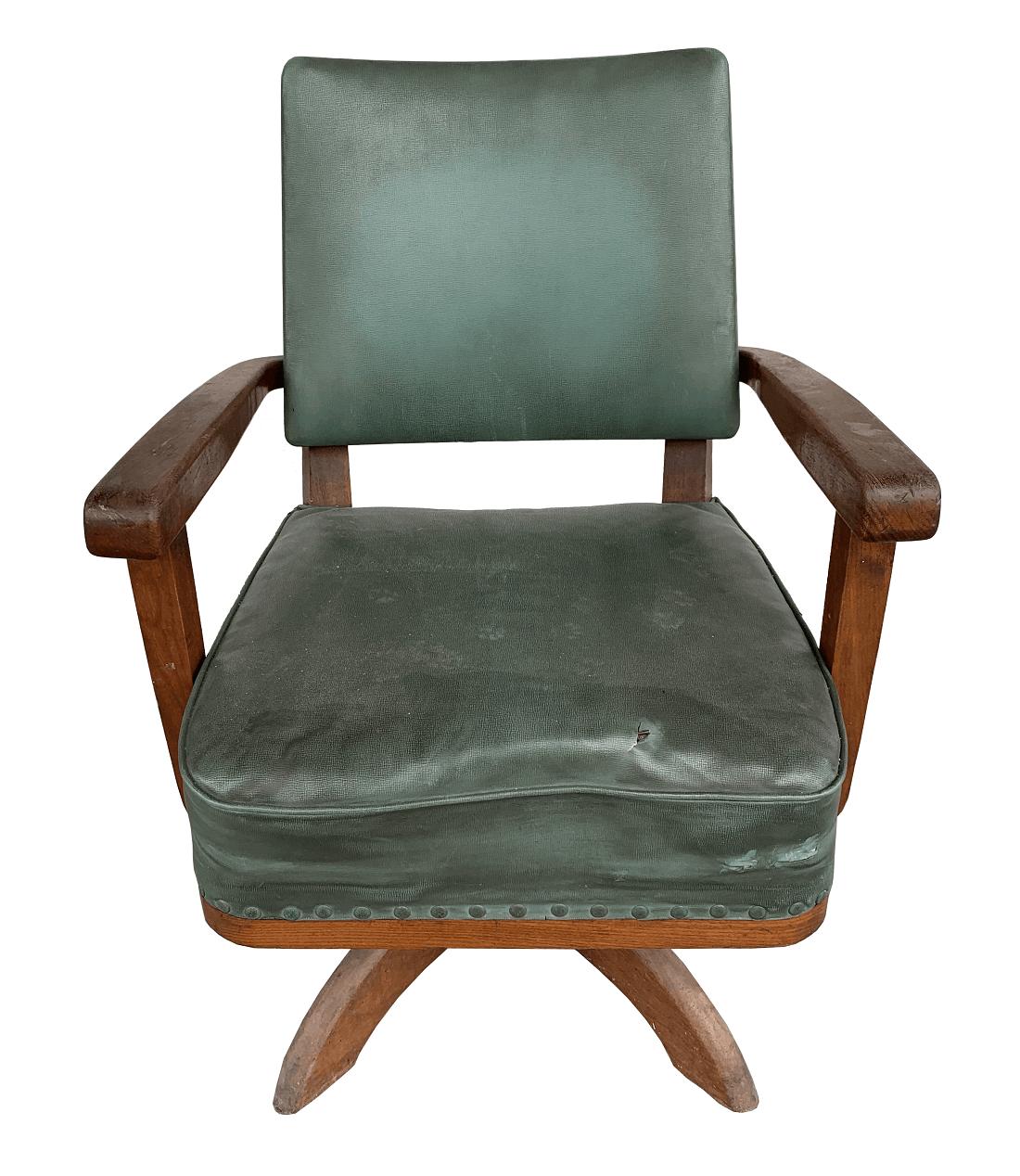 Cadeira Antiga Escritorio Giratoria Madeira
