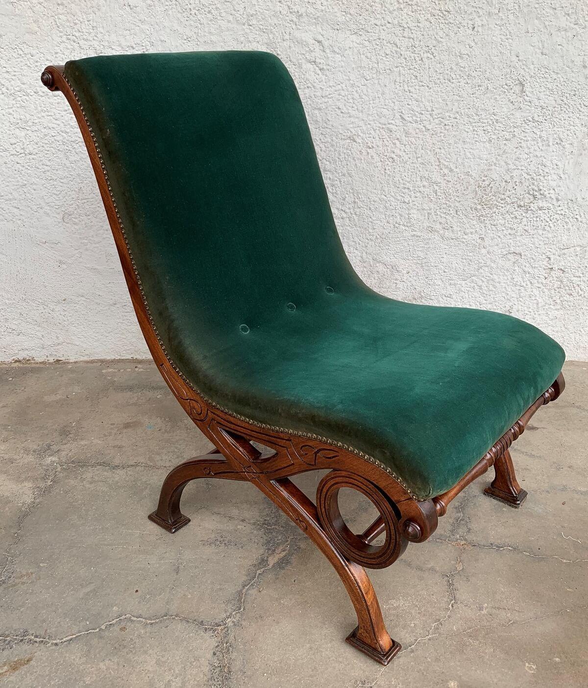 Cadeira Antiga Estilo Ingles Madeira Nobre
