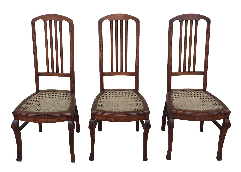 Cadeira Antiga Marchetada Art Noveau Palhinha