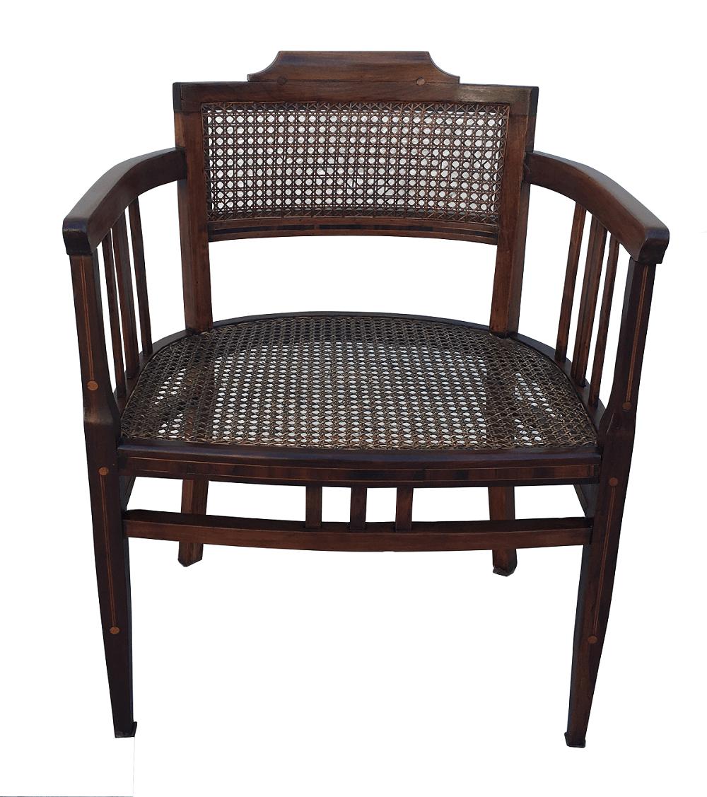 Cadeira Com Braço Antiga Marchetada E Palhinha