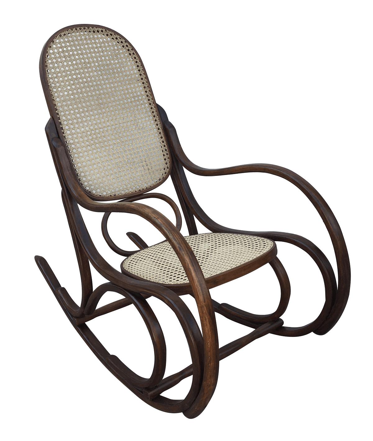 Cadeira De Balanço Antiga Austriaca Thonet Palhinha