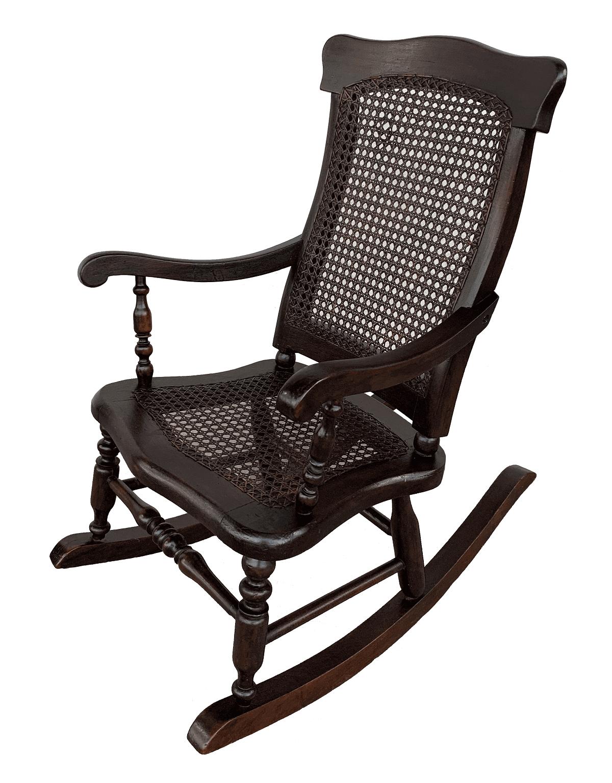 Cadeira De Balanço Antiga Infantil Madeira Palhinha