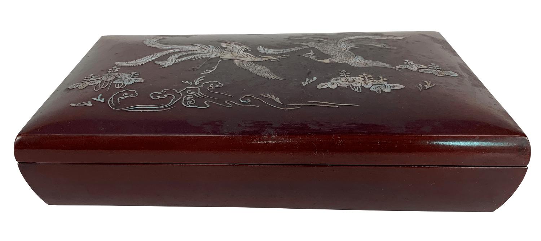 Caixa Antiga De Madeira Laca Chinesa Madreperola
