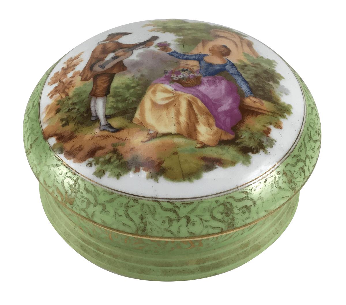 Caixa Em Porcelana Antiga Saler Cena Galante