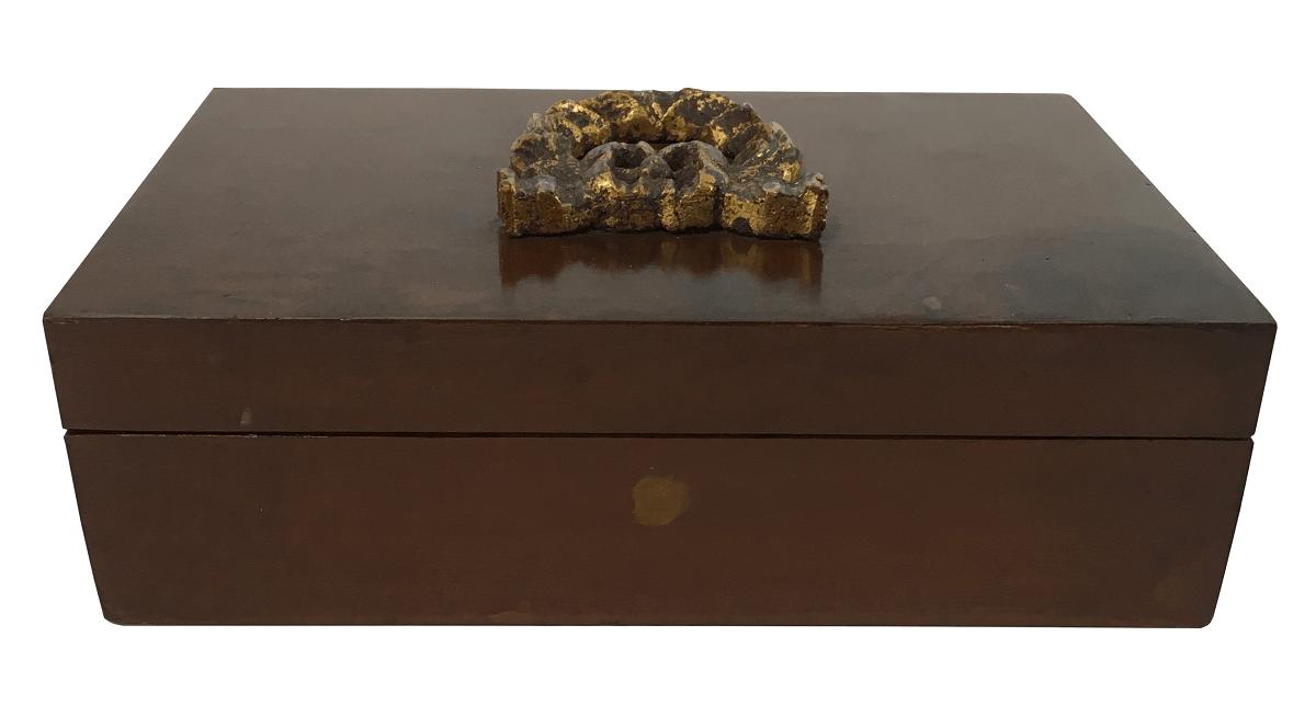 Caixa Porta Cartas Baralho Em Madeira Aplique Dourado