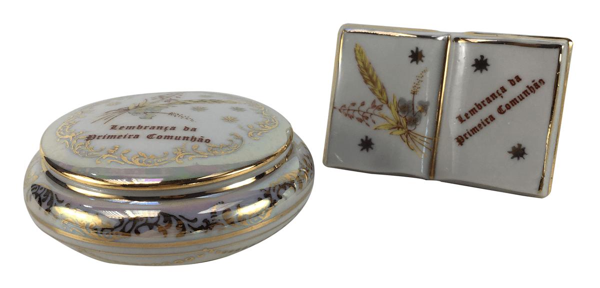 Caixinha E Biblia Miniatura Porcelana Primeira Comunhao