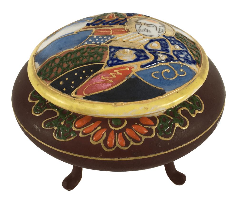 Caixinha Porcelana Antiga Satsuma Japonesa