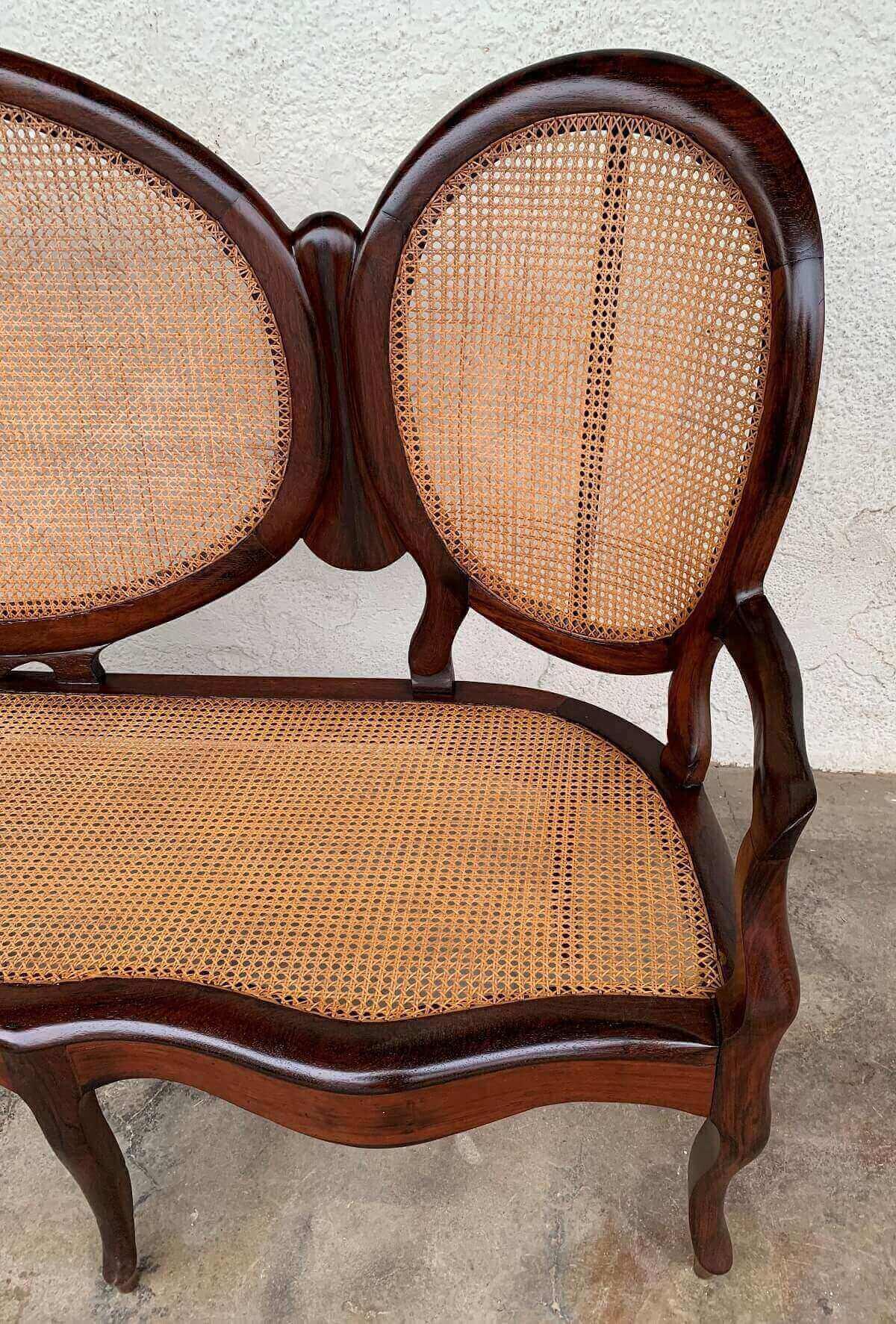 Canape Antigo Sofa Medalhao Jacaranda E Palhinha Perfeito