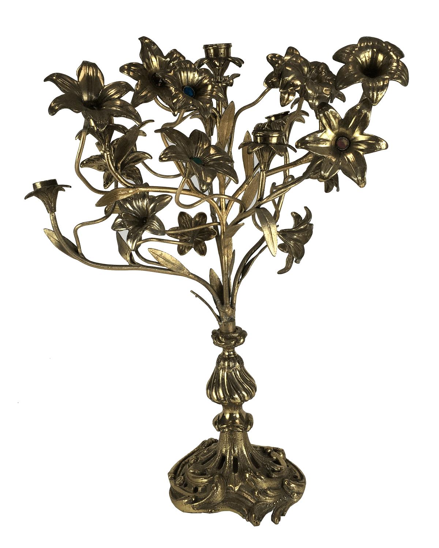Candelabro Antigo Bronze Flor 7 Velas