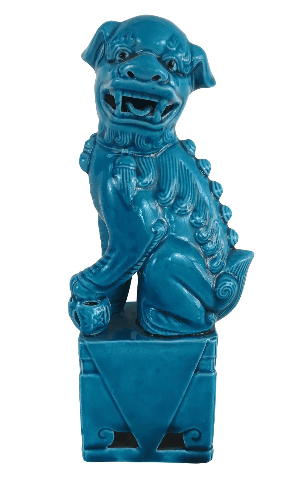 Cao De Fo Antigo Em Porcelana 20cm
