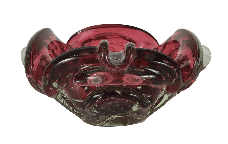 Centro De Mesa Cinzeiro Murano Antigo Rosa Com Bolhas