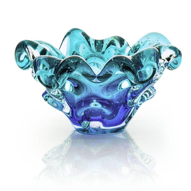Centro De Mesa Em Cristal Murano Sao Marcos Azul E Esmeralda