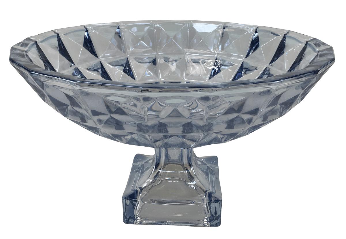 Centro De Mesa Fruteira Cristal Lapidado 32cm Azul
