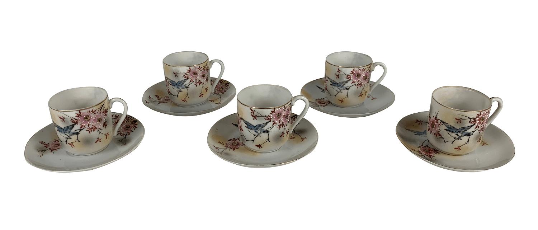 Cinco Xícaras De Café Porcelana Antiga Japonesa Casca De Ovo