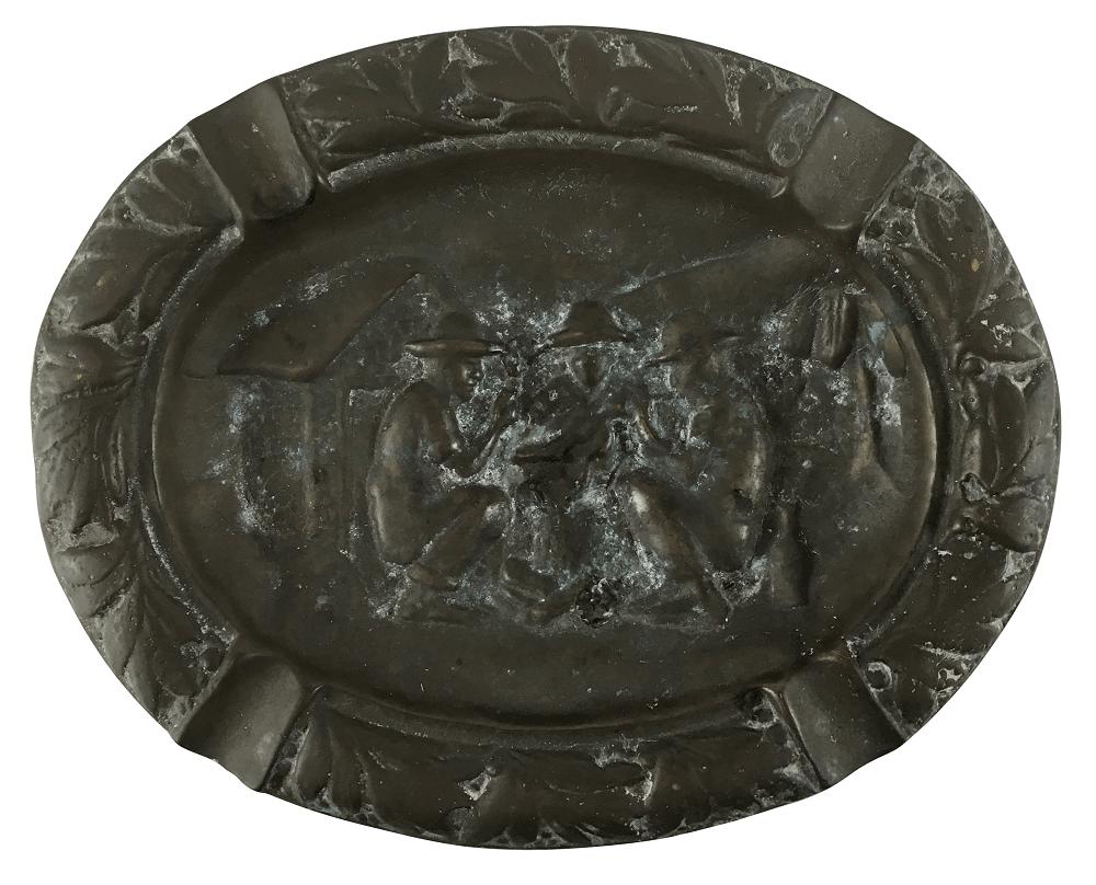 Cinzeiro Antigo Em Bronze Maciço