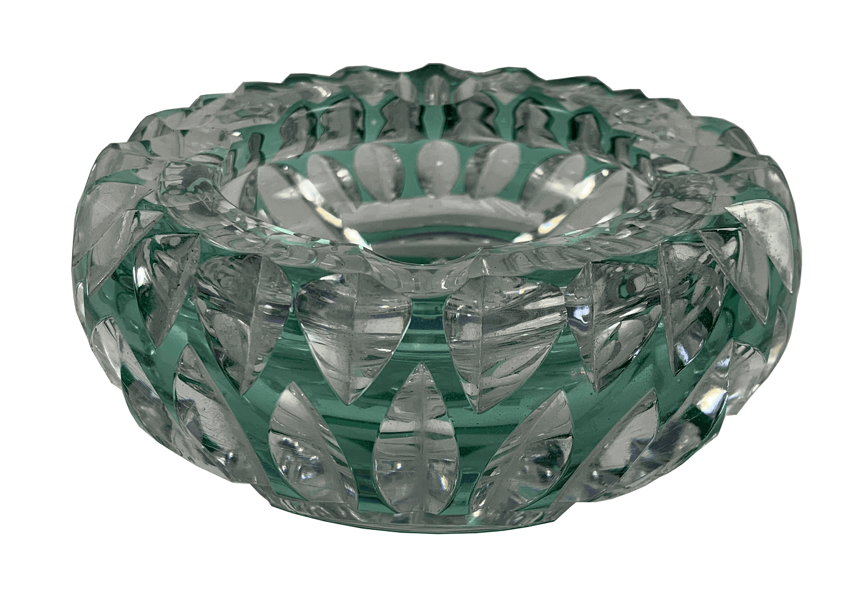Cinzeiro De Cristal Europeu Talvez Bohemia Verde Belissimo