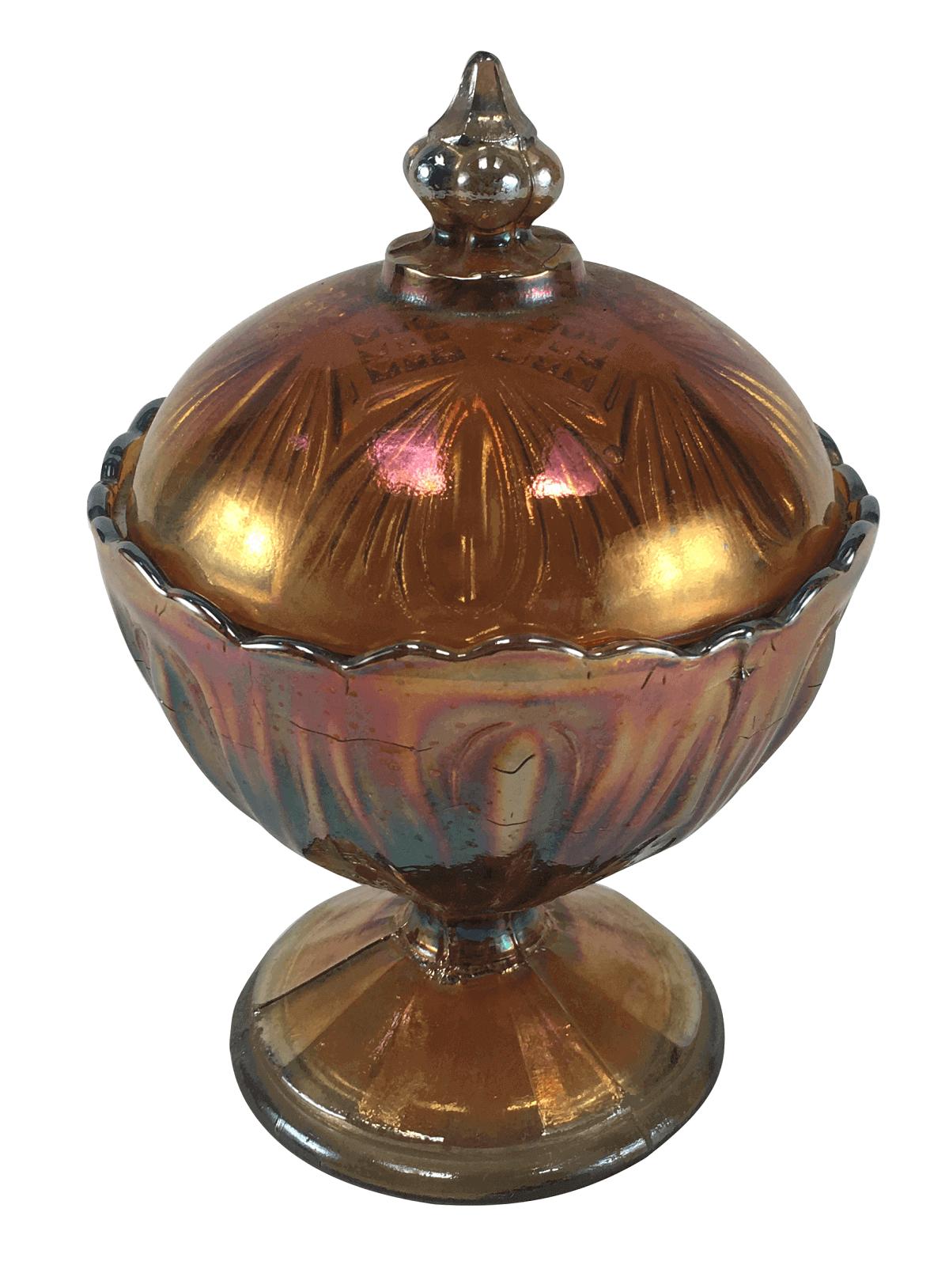Compoteira Antiga Carnival Glass Fogo Lagrima