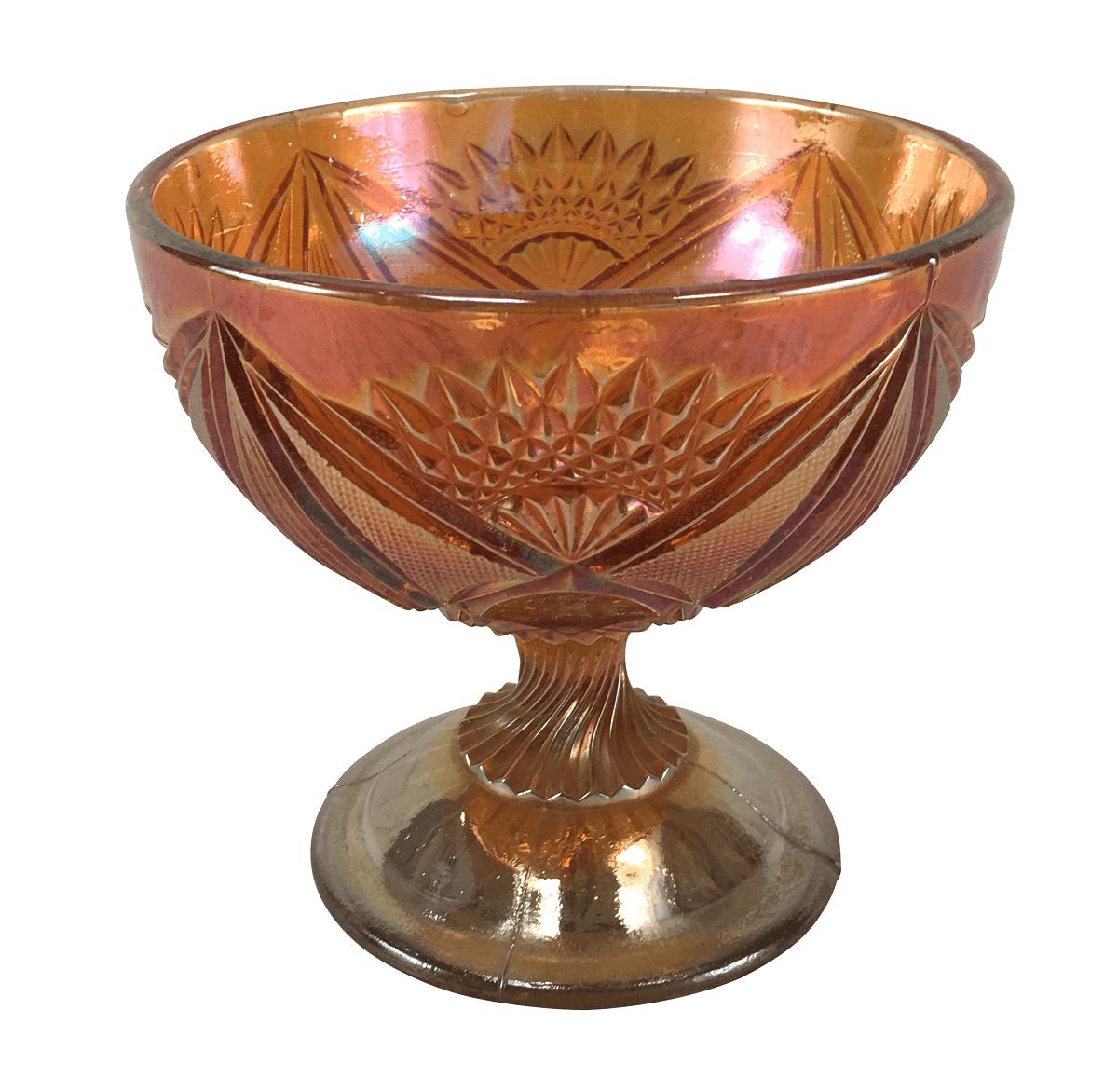 Compoteira Antiga Carnival Glass Fogo Sem Tampa