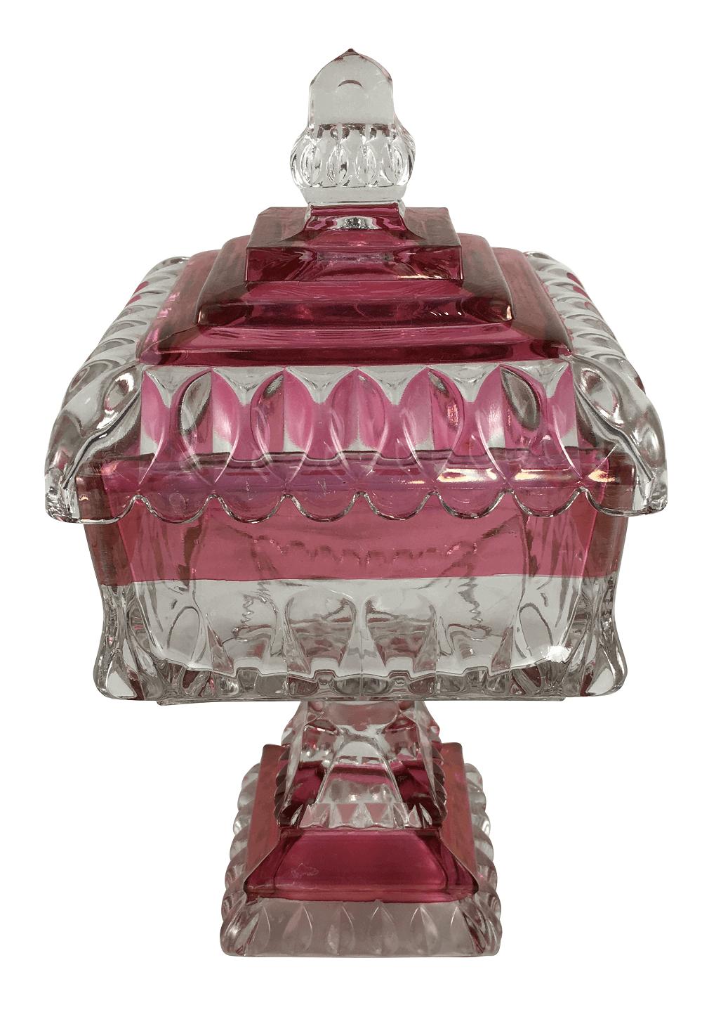 Compoteira Vidro Veneziano Rosa E Ouro