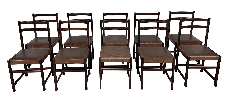 Conjunto 10 Cadeiras Antigas Jacaranda Anos 60 Design