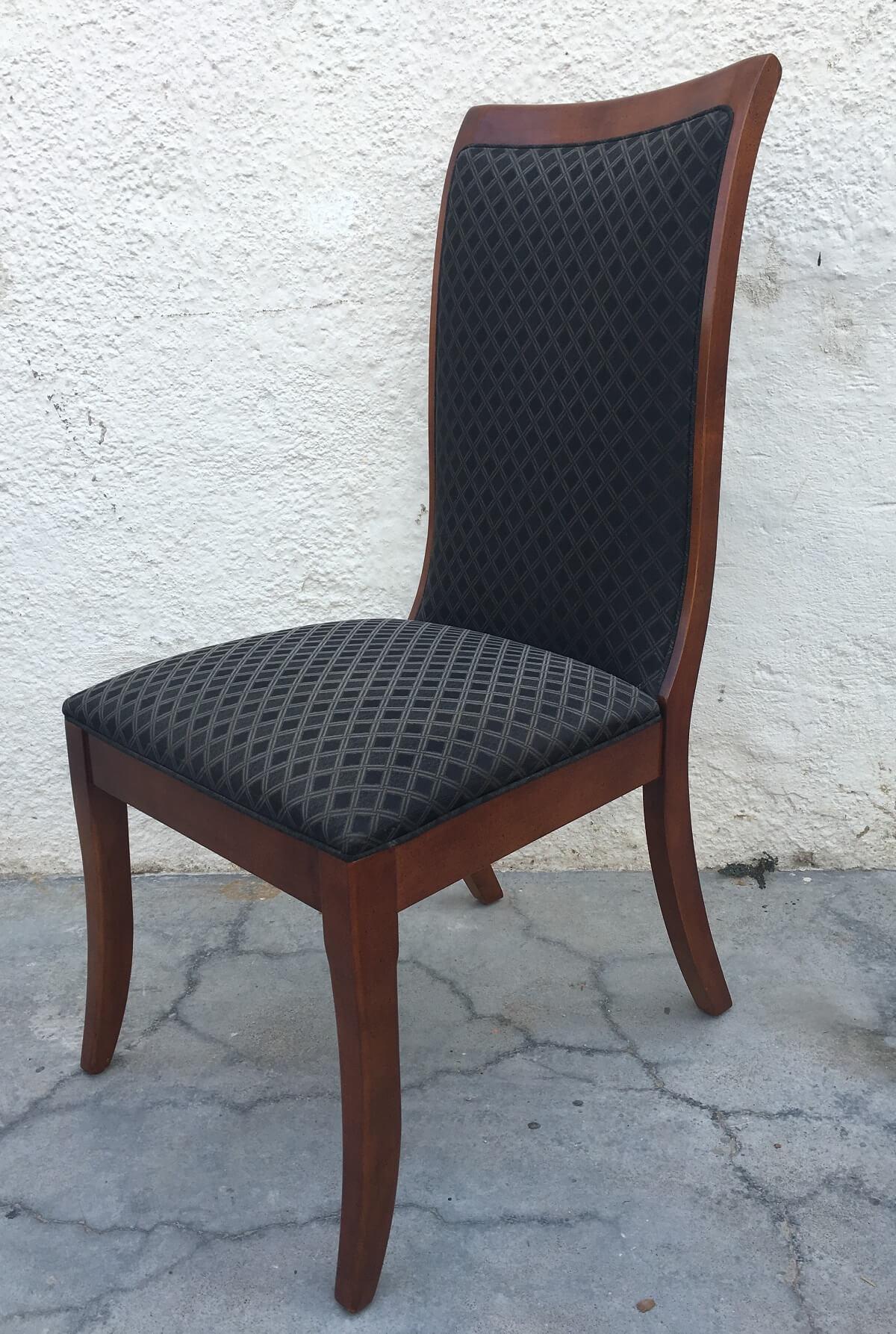 Conjunto 10 Cadeiras Em Madeira Nobre Tecido Preto
