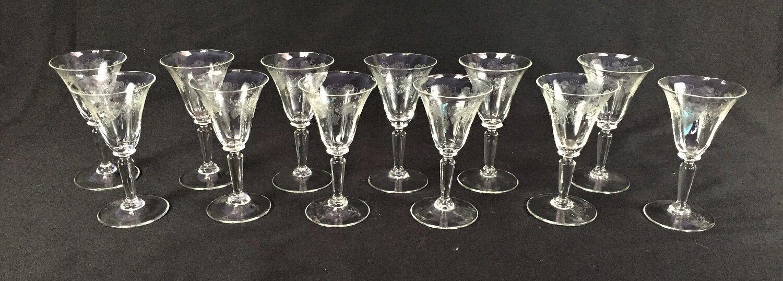 Conjunto 11 Taças Desenho Uvas Cristal Frances Saint Louis
