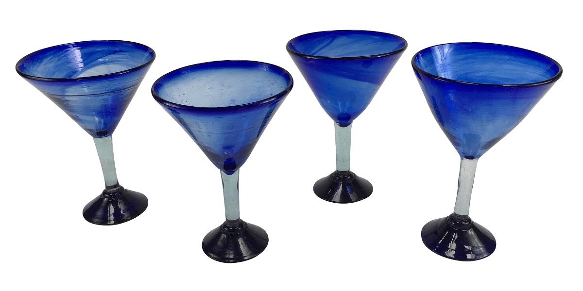 Conjunto 4 Taças Azuis Em Murano 19cm Altura