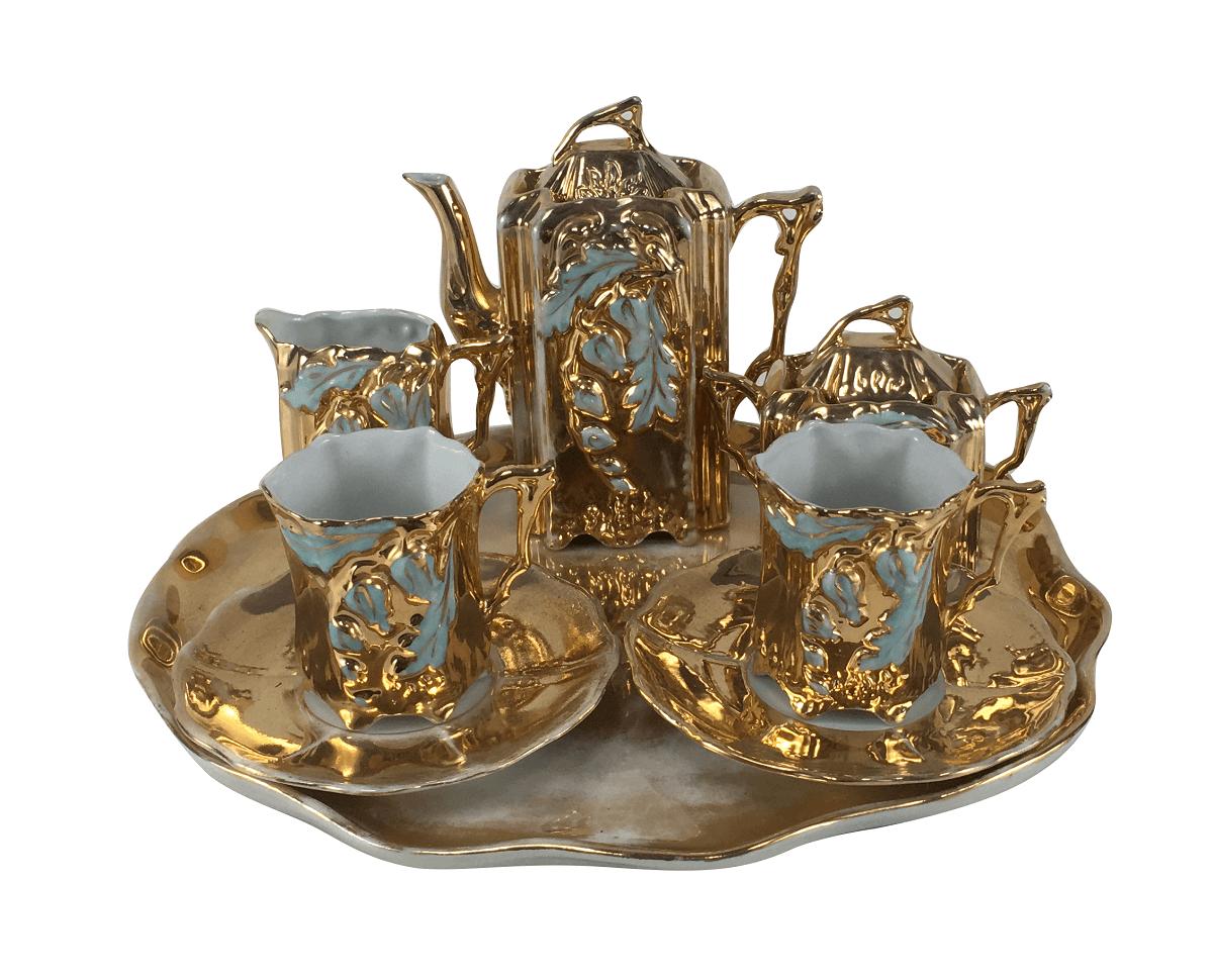 Conjunto Cafe Porcelana Antiga Tete A Tete Dourado