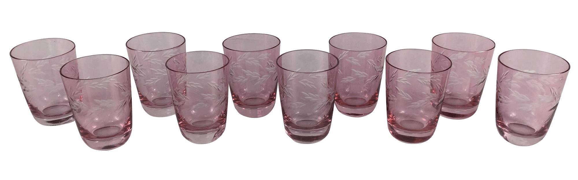 Conjunto De 10 Copos Antigos Em Cristal Rosa Lapidado