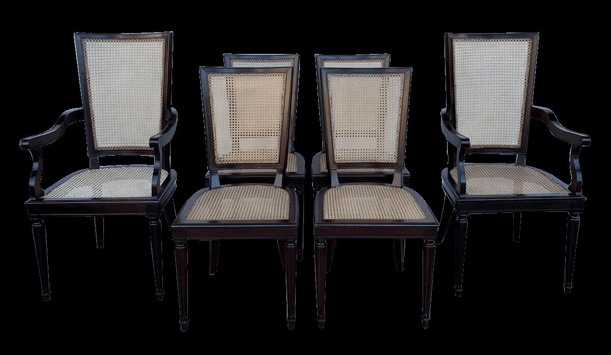 Conjunto De 6 Cadeiras Antigas Estilo Luis Xvi Palhinha