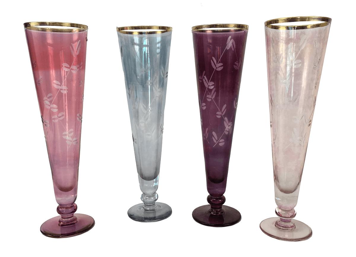 Conjunto De Lindas Taças Em Cristal Colorido