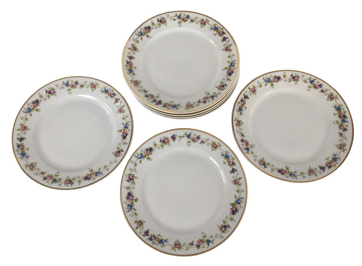 Conjunto De Pratos Sobremesa Porcelana Antiga Tcheca 17cm