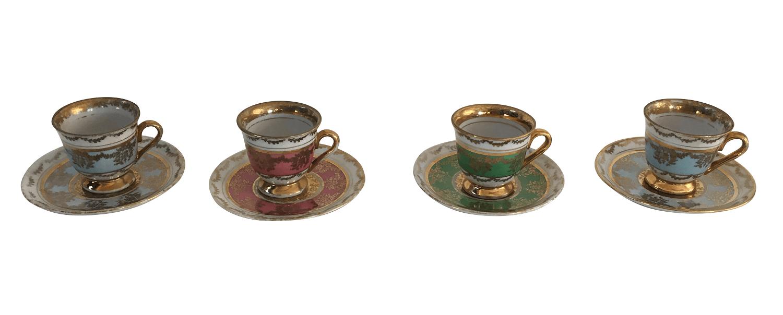 Conjunto De Xicara De Cafe Antigo Em Porcelana Luis Xv